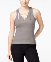 American Rag Striped Lace-Up Tank Top, Only at Macy's