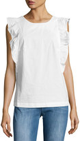 MiH Jeans Caval Ruffle-Sleeve Cotton Top, Ecru