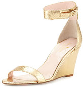 Kate Spade Ronia Naked Wedge Sandal, Gold Metallic Python