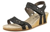 Mephisto Minoa Women Open Toe Leather Black Wedge Sandal.