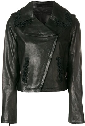 Chanel Pre Owned 2009 crochet trimmed leather jacket