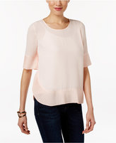 NY Collection Petite Pleated-Hem Top