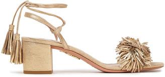 Aquazzura Wild Thing Fringed Metallic Suede Sandals