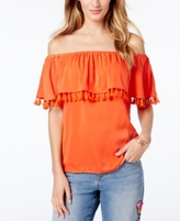 INC International Concepts Petite Tassel-Trim Off-The-Shoulder Top, Created for Macy's