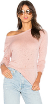 Black Orchid Long Sleeve Tee With Holes in Pink