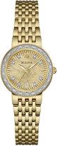 Bulova Women's Maiden Lane Diamond Accent Gold-Tone Stainless Steel Bracelet Watch 26mm 98R212