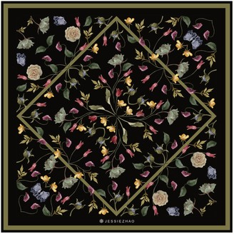 Jessie Zhao New York Silk Scarf In Black With Flowers