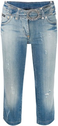 Dolce & Gabbana Pre-Owned Cropped Belted Jeans