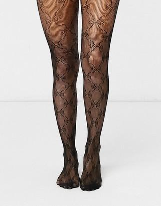 Gipsy diamond mesh tights in black