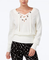 Bar III Ribbed Lace-Up Sweater, Only at Macy's