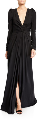 Monique Lhuillier Twisted Puff-Seeve Gown