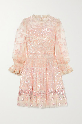 Needle & Thread Lace-trimmed Sequin-embellished Tulle Mini Dress - Blush
