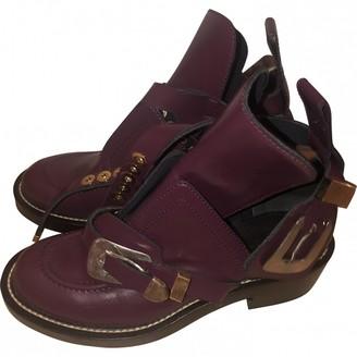 Balenciaga Ceinture Burgundy Leather Ankle boots