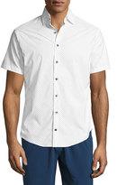 Peter Millar Wilson Polka-Dot Short-Sleeve Performance Sport Shirt, White
