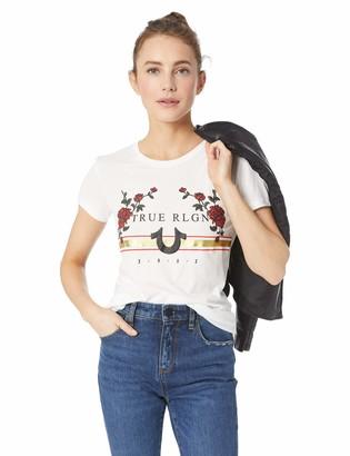 True Religion Women's Rose Logo Short Sleeve Tee