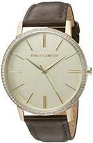 Vince Camuto Women's VC/5326CHGD Swarovski Crystal Accented Dark Grey Leather Strap Watch