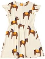 Mini Rodini Horse Print Organic Cotton Jersey Dress