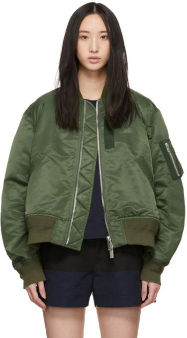 Sacai Khaki Pleated Bomber Jacket