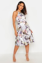 boohoo Floral Print Strappy Full Skater Dress
