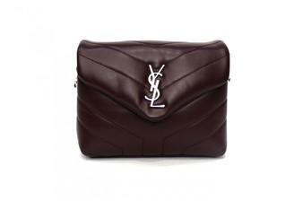 Saint Laurent Loulou Burgundy Leather Handbags