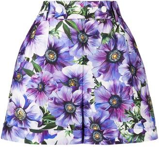 Dolce & Gabbana Anemone-Print Tailored Shorts