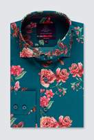 Mens Hawes & Curtis Teal And Red Floral Print Cuff Shirt