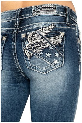 Miss Me Wing Mid-Rise Slim Boot Jeans in Dark Blue (Dark Blue) Women's Jeans