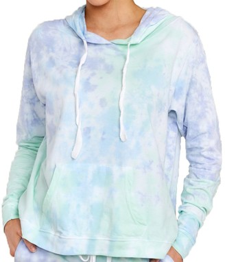 Steve Madden Tie-Dye Long Sleeve Hooded Pullover Purple Multi