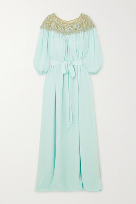 Marchesa Embellished Tulle And Silk Crepe De Chine Gown - Mint