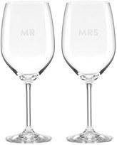 Kate Spade Darling Point - Mr & Mrs Set Of 2 Wine Glasses