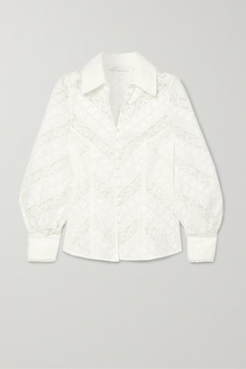 Zimmermann Veneto Lantern Broderie Anglaise And Lace Blouse - Ivory
