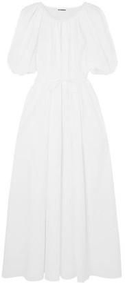Jil Sander Gathered Cotton-poplin Maxi Dress