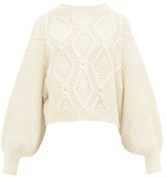 I Love Mr Mittens Balloon Sleeve Cropped Hem Cabled Wool Sweater - Womens - Cream