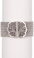 Lois Hill Sterling Silver Thai Weave & Granulated Buckle Bracelet