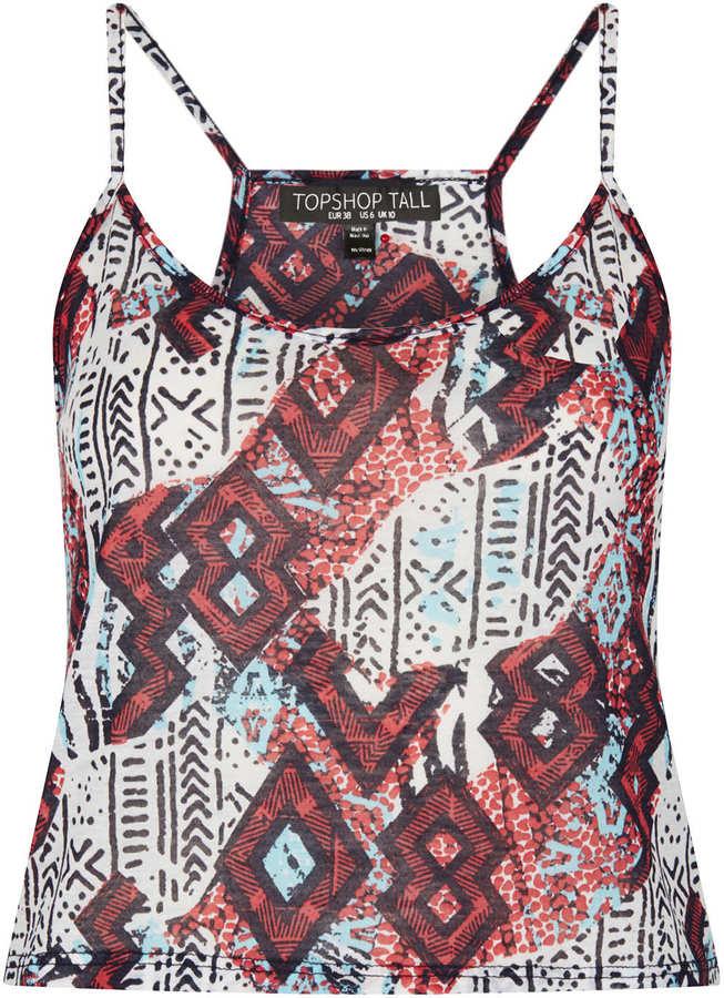 Topshop Tall Aztec Print Crop Cami