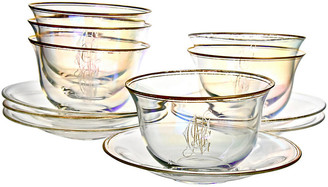 One Kings Lane Vintage Iridescent Bowls & Underplates - 12 Pcs - Portfolio No.6 - iridescent luster/clear