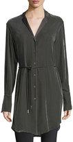 Lafayette 148 New York Jory Long-Sleeve Velvet Button-Down Tunic