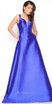 Mac Duggal Structured Deep V Open Back Satin Prom Dress