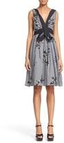 Marc Jacobs Floral Gingham Gathered V-Neck Dress