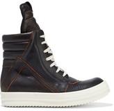 Rick Owens Geobasket Pebbled-leather High-top Sneakers -Black