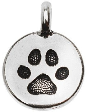 Overstock TierraCast Pewter Charm, Round Paw Print 16.5x11.5mm, 1 Piece, Antiqued Silver Plated