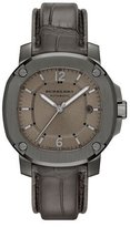 Burberry 43mm Automatic Watch with Alligator Strap, Smoked Gray