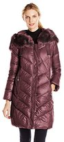 T Tahari Women's Austin Down Coat with Faux-Fur Trim