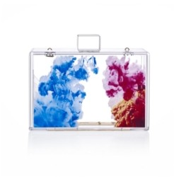 Milanblocks Transparent Lucite Abstract Oil Paint Clutch