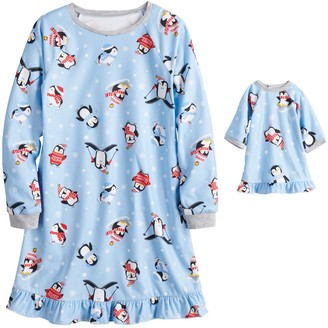 Cuddl Duds Girls 4-16 Jammies For Your Families Cool Penguin Gown & Doll Dress Set