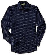 Murano Performance Slim-Fit Spread Collar Diamond Print Long-Sleeve Sportshirt