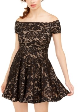B. Darlin Juniors' Off-The-Shoulder Lace Dress, Created for Macy's