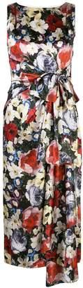 Erdem poppy-print draped tie-waist midi dress