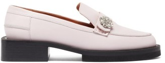 Ganni Crystal-embellished Leather Loafers - Light Pink