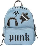 John Richmond Cotton Denim Backpack W/ Patches